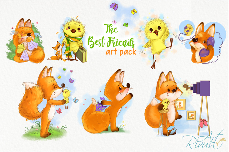 fox-and-chick-png-clipart-the-best-friend-graphic-art-birthday-cards