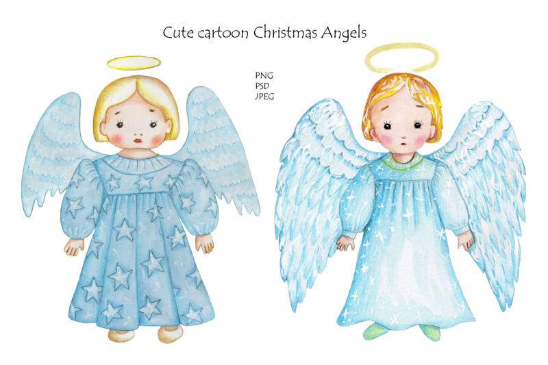 watercolor-cartoon-christmas-angels