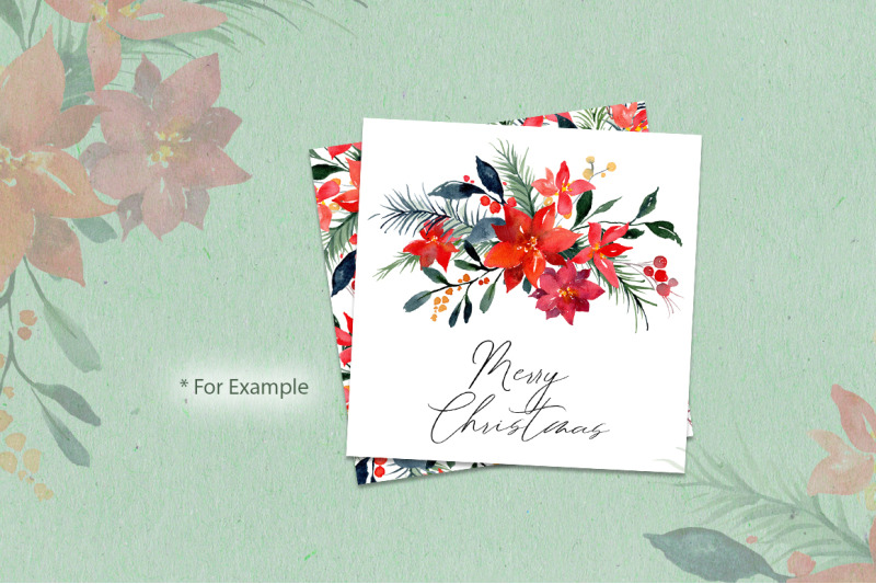christmas-watercolor-flowers-leaves-branches-pine-fir-poinsettia