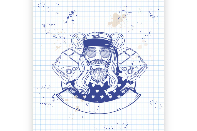 hand-drawn-sketch-hippie-man