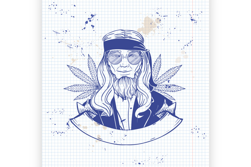 hand-drawn-sketch-hippie-man