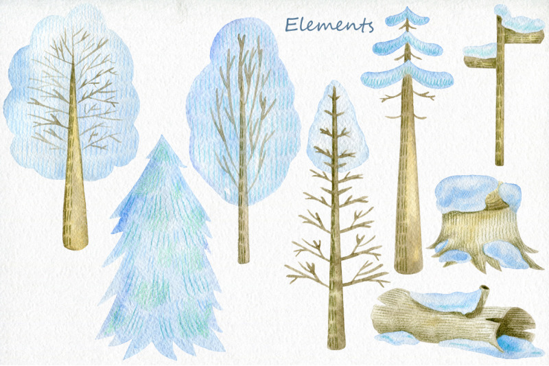 winter-woodland-watercolor-set