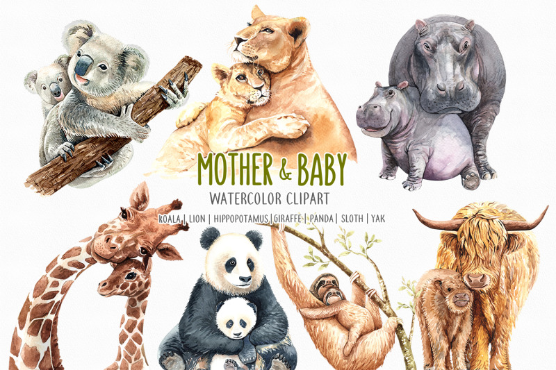 watercolor-mom-and-baby-animals