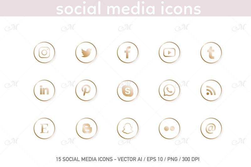 social-media-icons-white-gold-set