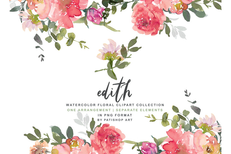 blush-red-watercolor-peony-clipart-set