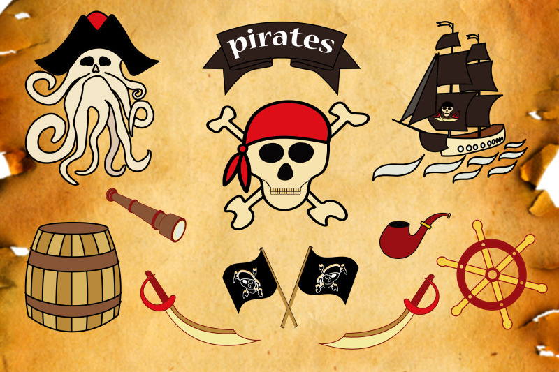 pirate-vector-clipart-set