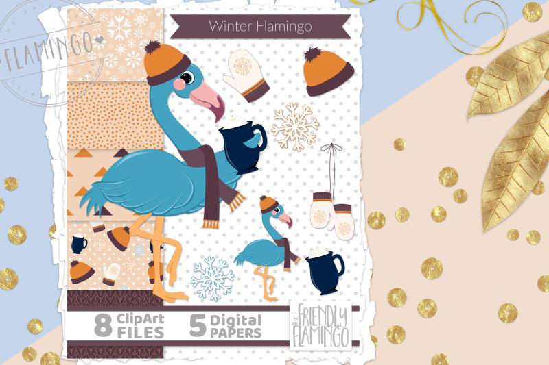 winter-blue-flamingo
