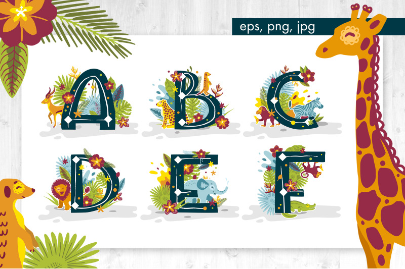 tropical-alphabet-with-animals-and-plants
