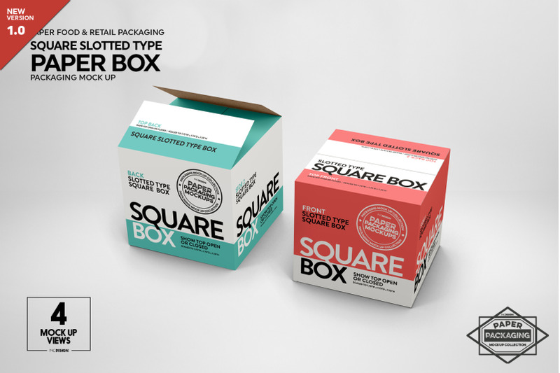 Download Square Slotted-Type Paper Box Mockup Free Mockups