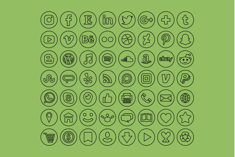 circle-minimalist-outline-social-media-icons