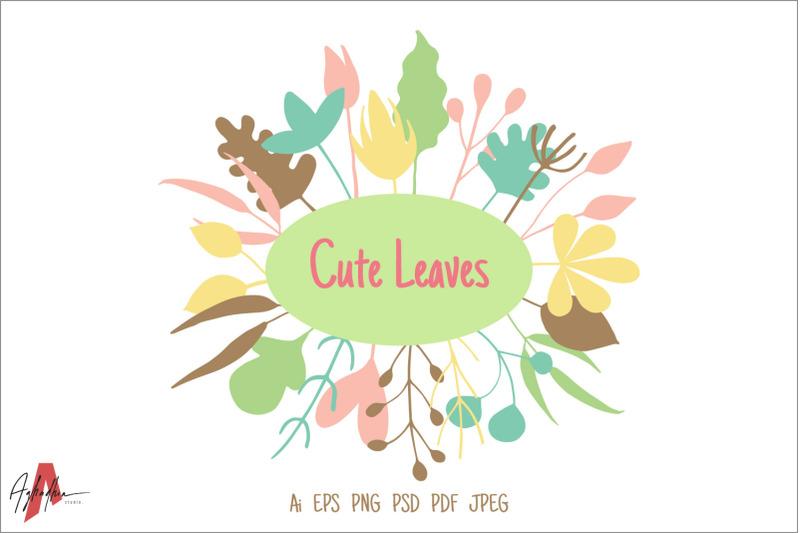 cute-leaves-set-floral-element