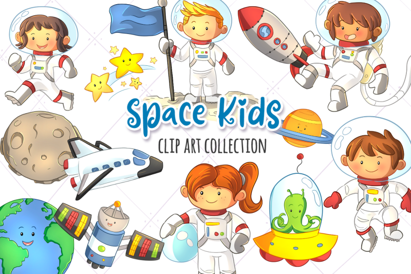 space-kids-clip-art-collection
