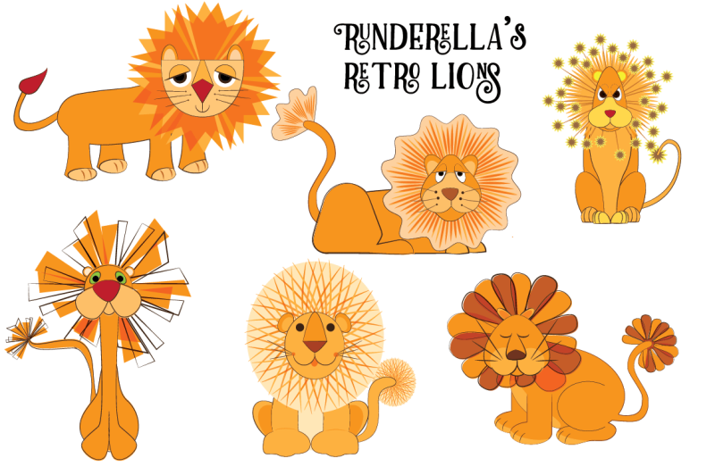 retro-lions-editable-vector-files