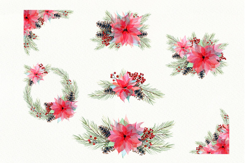 watercolor-christmas-poinsettia-set