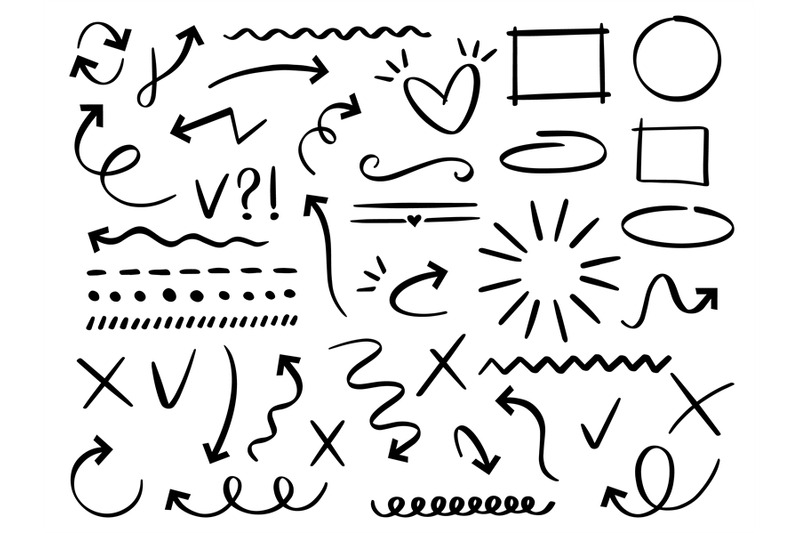 sketch-arrows-and-frames-hand-drawn-arrow-doodle-divider-and-circle