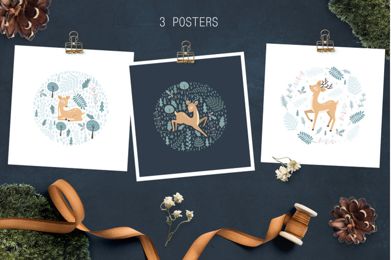 deer-patterns-posters-clipart