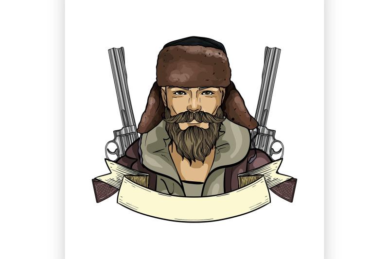 hand-drawn-color-sketch-hunter-man