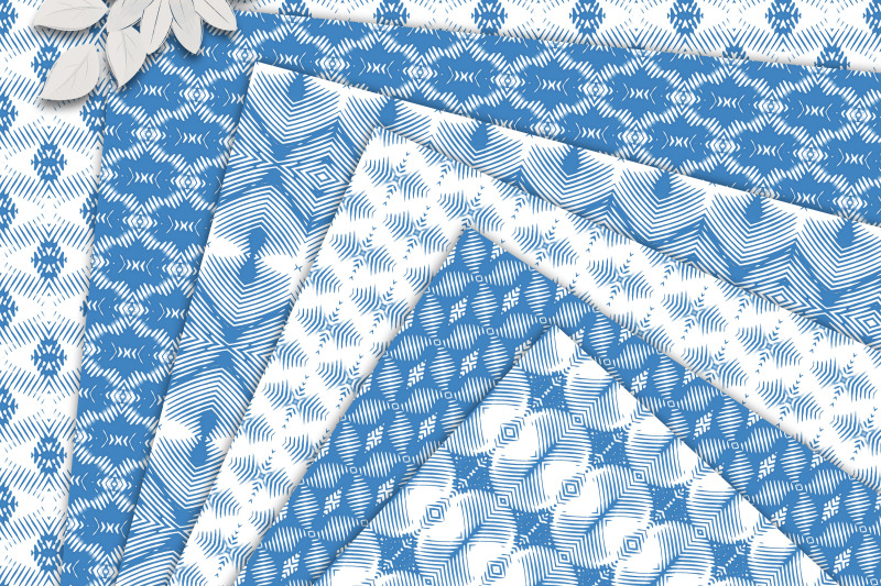 white-and-blue-ethnic-seamless-patterns