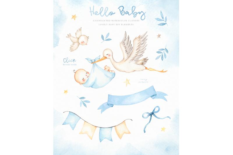 hello-baby-blue-watercolor-clip-arts