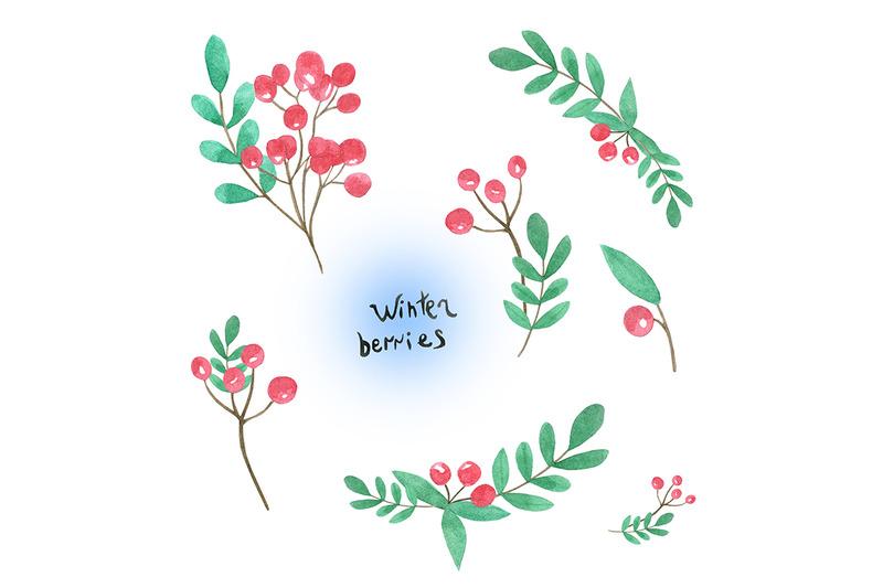 watercolor-set-with-winter-berries