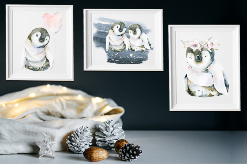 cute-arctic-animals-watercolor-collection