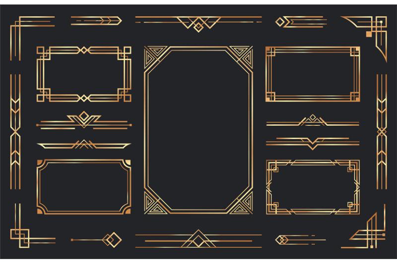 golden-art-deco-ornaments-arabic-antique-decorative-gold-border-retr