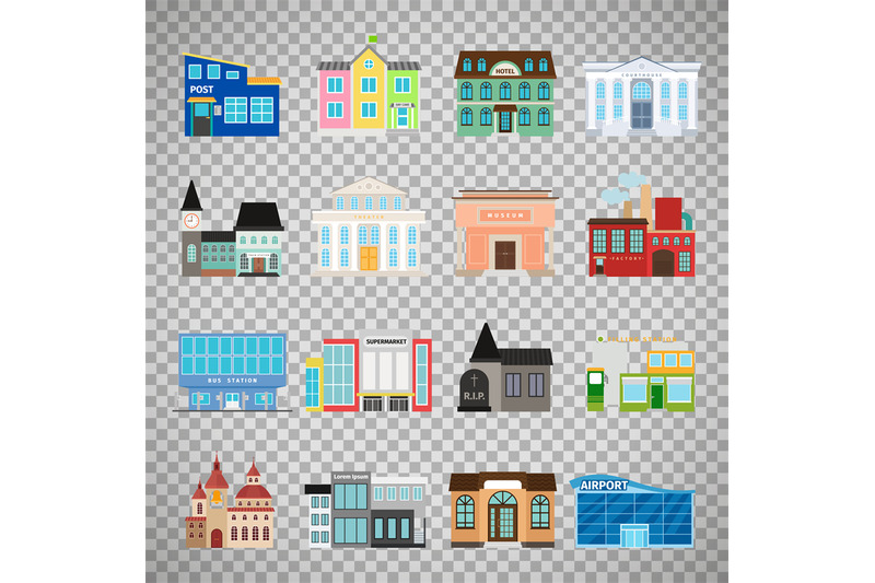 city-buildings-icons-on-transparent-background