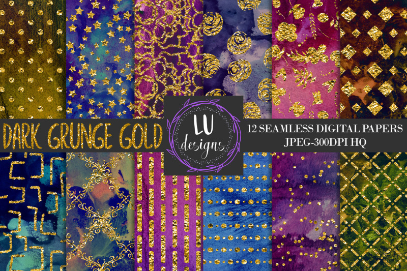 dark-grunge-gold-foil-digital-papers-grunge-watercolor-textures