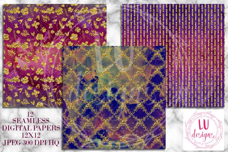 dark-grunge-gold-foil-digital-papers-grunge-watercolor-textures