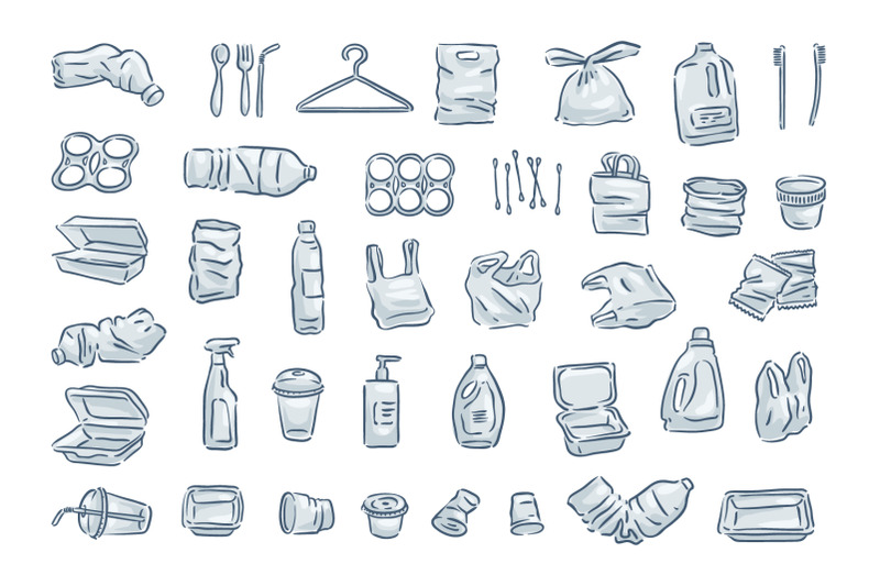 plastic-trash-icon-set