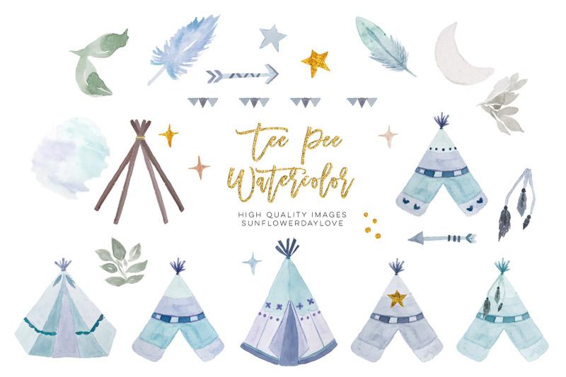 watercolor-boho-teepee-clipart-arrow-amp-feathers-blue-clip-art