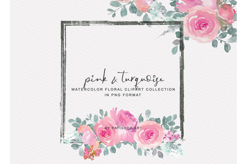 pink-and-turquoise-watercolor-floral-clipart-set