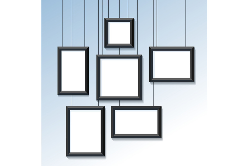 blank-pictures-or-photo-frames-on-the-wall-vector-illustration