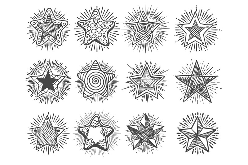 hand-drawn-vintage-doodle-stars-set-vector-illustration