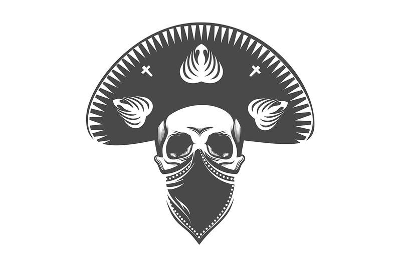 human-skull-in-sombrero-and-bandana