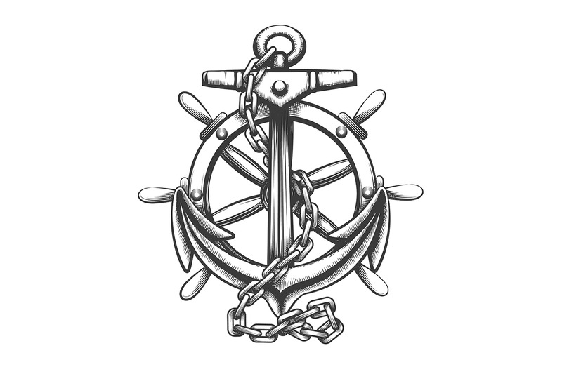 anchor-and-ship-wheel-tattoo-in-engraving-style-vector-illustration