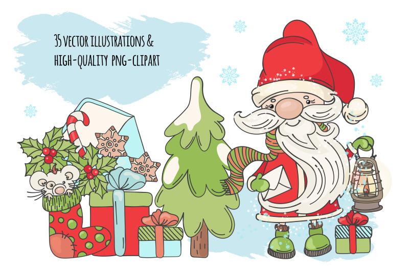 christmas-song-new-year-santa-music-vector-clip-art-pattern-set