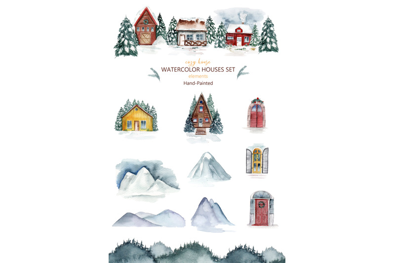 houses-watercolor-clipart-mountains-cozy-home-christmas