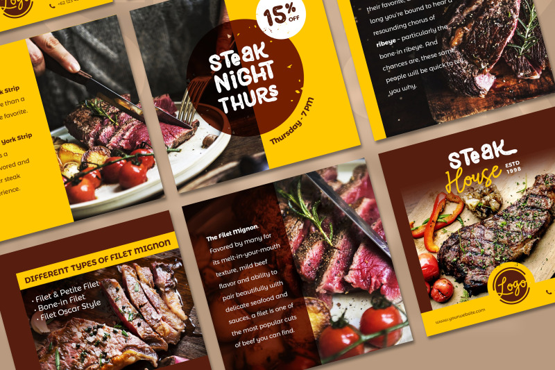 steak-social-media-post-template-with-a-brown-color-theme