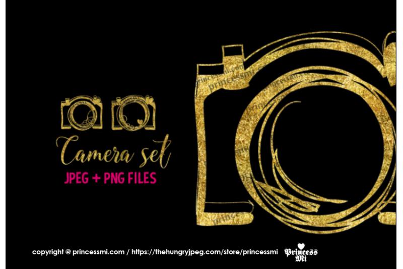 gold-camera-glitter-clipart-set