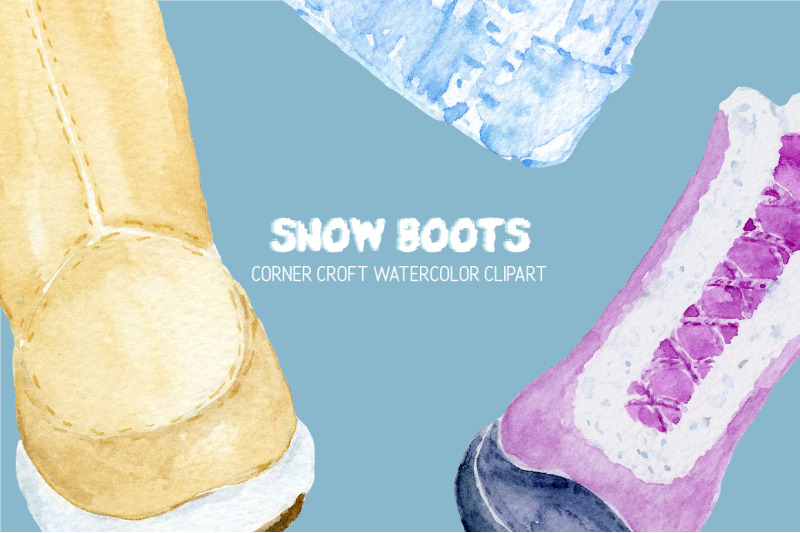 watercolor-winter-boots-and-snow-boots