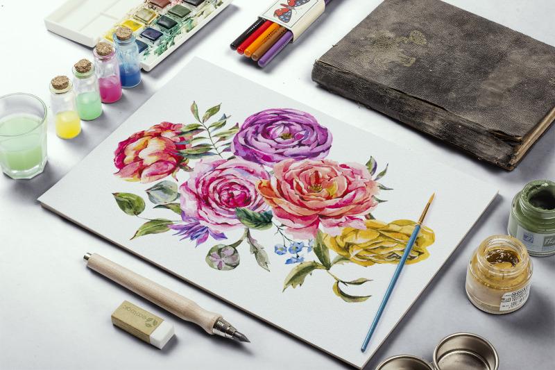 watercolor-rose-and-ranunculus