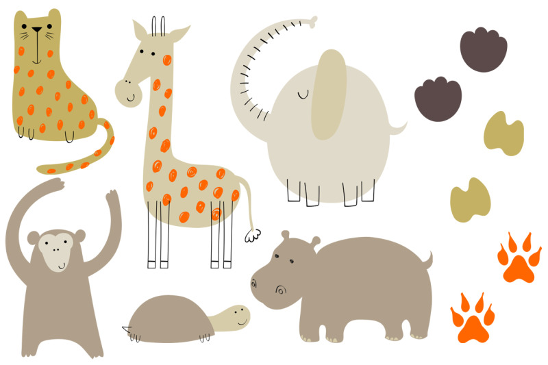 safari-animals-vector-set