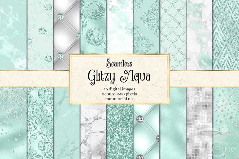 glitzy-aqua-digital-paper