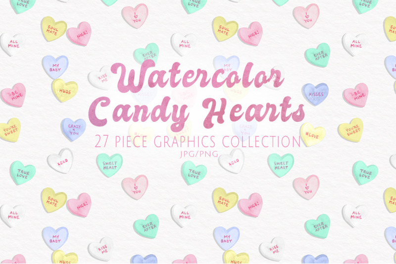 watercolor-candy-hearts-set