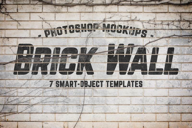 Free Urban Jungle Brick Wall Mockups Volume 1 (PSD Mockups)