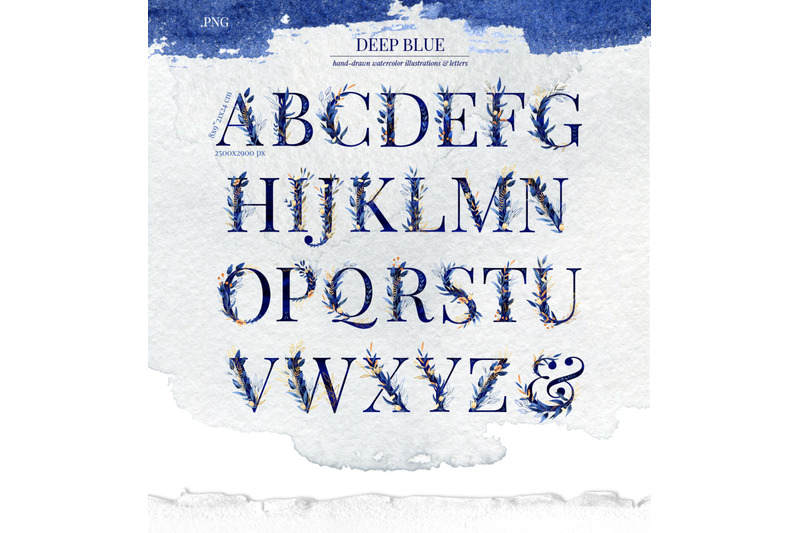 deep-blue-alphabet-watercolor-design-kit