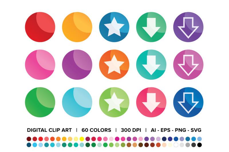 round-web-button-clip-art-set