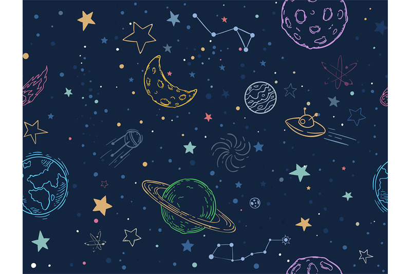 Space Embroidery Patch Seamless Pattern Stock Vector ...  Space Repeating Background Patterns