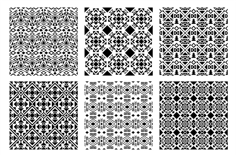 ethnic-monochrome-patterns-set